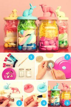 DIY - easter gifts in a jar Diy For Kids, Crafts For Kids, Diy And Crafts, Arts And Crafts, Diy Ostern, Ideias Diy, Plastic Animals, Plastic Animal Crafts, Mason Jar Crafts