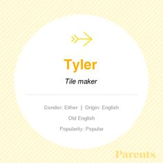 Baby Name: Tyler unisex baby names baby name. Baby Name: Tyler unisex baby names baby names gender neutral Unisex Baby Names, Baby Girl Names, Baby Boys, Logan Name, Taylor Name, Hispanic Baby Names, Gender Neutral Names, Character Names, Frases
