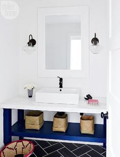 Bathroom Decorating Ideas: Color Inspiration: Navy Blue and White