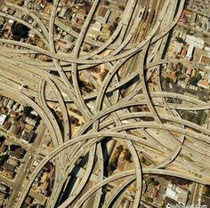 The MacArthur Maze in Oakland, Ca. - Largest freeway interchange in the world.maybe not our favorite part of Oakland. Hamilton Musical, Parcs, Aerial Photography, Art Photography, Wyoming, Puerto Rico, The Good Place, Musicals, Scenery