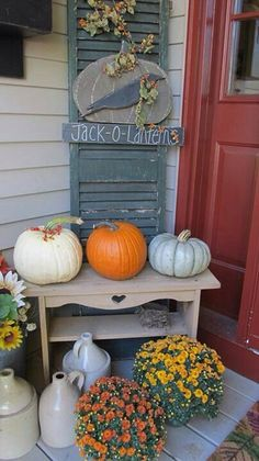 Fall decorations on a front porch