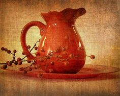 So very red.... by ~Willa~, via Flickr | #earthtones #brown #rust #gold #orange #texture #pitcher
