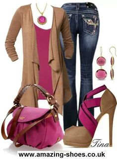 Casual pink brown outfit