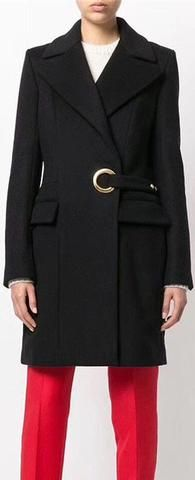 Black Cashmere & Wool Coat with Belted Large Eyelet