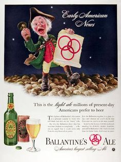 1941 Ballantine's Ale original vintage advertisement. Early American News