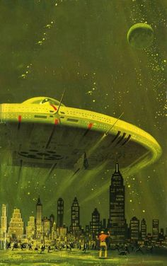 Dean Ellis - cover art for Arthur C. Clarke's  _Childhood's End_ (Pan 1974)
