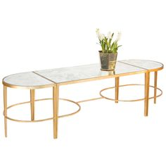 Worlds Away Sabre Gold Leaf 3-Piece Coffee Table
