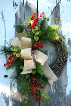 Christmas Wreath, Red Berries, Pine, Burlap, Grapevine Wreath. $55.00, via Etsy.