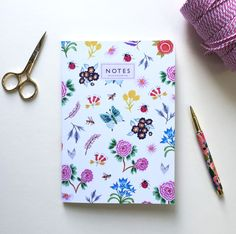 Flowers and Bees Botanical Notebook by Helen Magee Hairy Fruit Art Notebooks, Journals, A5 Notebook, Lined Page, Fruit Art, Bees, Stationary, Card Stock, Floral