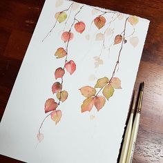 Fall leaves watercolor