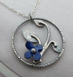 Cobalt Branch Necklace  in sterling silver with by KathrynRiechert, $68.00