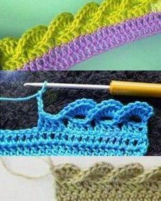 """Stricken - Modelle und Muster: Dekorativer Häkelrand """"Waves"""" Source by tamarame. Crochet Box Stitch, Crochet Braid Pattern, Crochet Doily Diagram, Braid Patterns, Crochet Blanket Patterns, Knitting Patterns Free, Knit Patterns, Crochet Baby Sweaters, Crochet Faces"""
