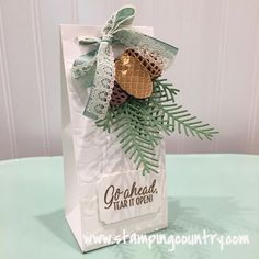 tag card christmas pine branch pine cone gift ornament Pretty Pines Gift Bag, SU Pretty Pines thinlits Stampin´ Up Christmas Paper Crafts, Stampin Up Christmas, Christmas Bags, Christmas Wrapping, Christmas 2016, Christmas Decorations, Xmas, Winter Cards, Holiday Cards