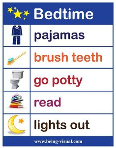 """A favorite visual list - our bedtime chart. I'd just add """"prayers"""" after read. Bedtime Chart, Bedtime Routine Chart, Parenting Advice, Kids And Parenting, Toddler Routine, Sticker Chart, Kids Schedule, Charts For Kids, Preschool Activities"""