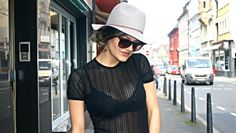Versace Shirt - Armani sunglasses - hat look - street style - lingerie