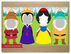 Snow White Photo Booth Props (Includes Snow White, Evil Queen, The Prince & Happy Dwarf) - Digital Files Snow White Photos, Snow White Evil Queen, Snow White Birthday, Photo Booth Props, Photo Booths, Baby Party, 1st Birthday Parties, Creations, Decoration