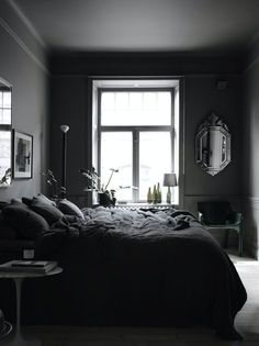 To inspire you, we share lots of awesome dark bedroom ideas that you can refer to! Pick the best dark bedroom that really suits your needs and taste now Dark Gray Bedroom, Black Bedroom Design, Grey Bedroom Paint, Grey Bedrooms, Cozy Bedroom, Modern Bedroom, Bedroom Wall, Bedroom Decor, Bedroom Ideas