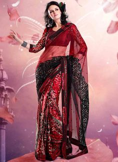 Glam Red half And Half Saree