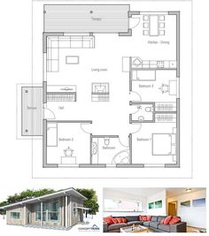 Small house plan, high ceilings, three bedrooms, open planning, covered terrace. Modern small home design. Floor Plan from ConceptHome.com