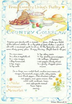 Country Coleslaw, Susan Branch for Country Living Magazine
