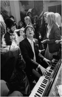 May - 1981 ➝ Paul McCartney with Linda McCartney, Ringo Starr and several others at Ringo and Barbara Bach's wedding on April Photograph by Terry O'Neill. Terry O Neill, Ringo Starr, John Lennon, Rock And Roll, Pop Rock, John Wayne Gacy, George Harrison, Steve Mcqueen, Beatrice Mccartney