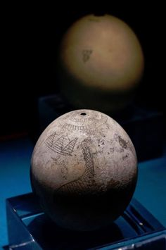 5000 year old hand carved ostrich egg. The Nubia Museum, Egypt.