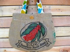 Upcycled Burlap Pleated Purse Apples Pears by barefootSurfboutique, $42.00