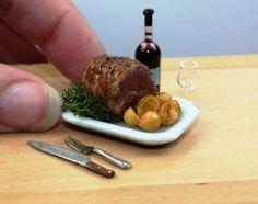 Dolls House Food - Miniature Food Roast Beef with Roast Potatoes 1/12th Scale www.etsy.com/shop/TheMiniatureGourmet