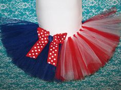 Red White and Blue Tutu with Matching Bow Clip or by Zobows, $25.00