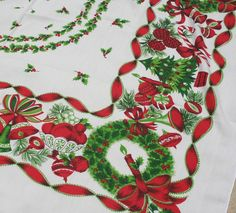vintage christmas tablecloth printed tablecloth candy canes holly christmas trees ornaments bells