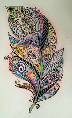 Feather doodles in 2019 feather art, feather drawing, feathe Feather Drawing, Feather Painting, Feather Art, Feather Tattoos, Mandala Feather, Mandalas Drawing, Mandala Art, Doodles Zentangles, Zentangle Patterns
