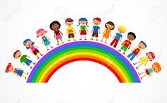Arcobaleno Con I Bambini, Illustrazione Colorato Foto Royalty Free, Immagini, Immagini E Archivi Fotografici. Pic 10010126.