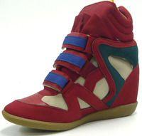 Sportliche Damen Hidden Wedge Sneaker Stiefelette Pumps rot 38