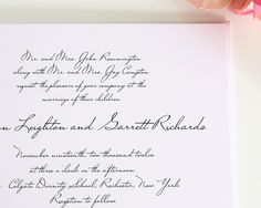 Handwritten Wedding Invitations in Black on White Shimmer Cardstock - Wedding Invitations by Shine