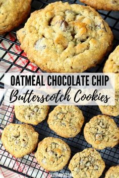 These Oatmeal Chocolate Chip Butterscotch Cookies are the best cookie ever! With rolled oats, chocolate chips and butterscotch chips… one chewy, buttery and delicious chocolate chip oatmeal cookie! Oatmeal Butterscotch Cookies, Butterscotch Chips, Chocolate Chip Oatmeal, Chocolate Chips, Oat Cookies, Cookies Et Biscuits, Best Cookies Ever, Chocolate Cheesecake Recipes, Chips Recipe