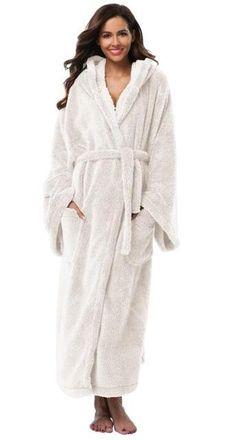 Ladies Full Length Polar Fleece Dressing Warm Robe Womens Long Bath Robe Size