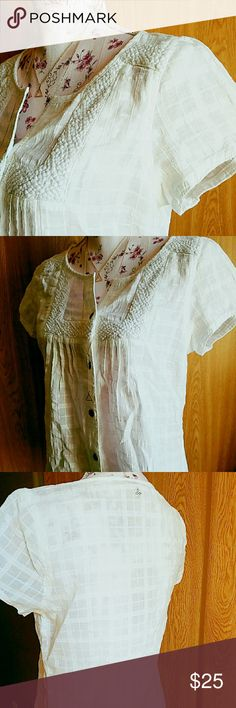 Prana Lucie Top NWT Super cute, Prana Lucie Top in White. Short sleeved, button down blouse.  Lace details make this an upgraded version of the plain white t-shirt. So many options to wear with this! Smoke free home. Prana Tops Button Down Shirts
