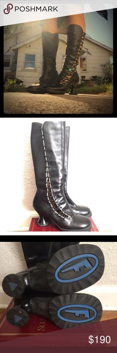John Fluevog  Sugar Minis Leather Black with beige John Fluevog Sugar Mini Boots.  Purchased from Seattle Fluevog 2008.  Condition is worn with some scuffing, but totally adorable boots that make a statement!  Mostly worn indoors, light scuffing and scratches. John Fluevog Shoes Heeled Boots
