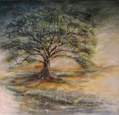 BENDING BENEATH THE WEIGHT OF WIND AND MERCY. Oil 110x100 cm . Seasons upon seasons, and still the tree grows.