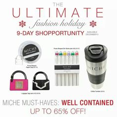 Day 4 -Miche Shopportunity sale.  Check out my website for prices or pm me. https://sandrasgotmy.miche.com  Please attach your order to the November party.