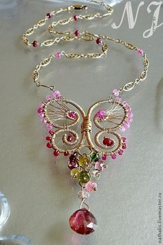 Necklaces, handmade beads. Fair Masters - handmade necklace with a pendant Ruby Butterfly Wire Wrap. Handmade.
