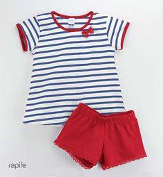 Pijama infantil marinero de rapife para verano, prendas suaves y tradicionales en algodón.Máxima transpiración. Hecho en España. Casual Shorts, Future, Kids, How To Wear, Women, Fashion, Toddler Pajamas, Child Fashion, Role Models