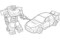 Transformers Are Facing Car Coloring Page - Transformer Coloring Pages : KidsDrawing – Free Coloring Pages Online