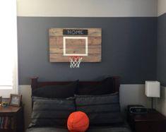 Rustic Reclaimed Wood Basketball Hoop by RecoWarehouse on Etsy Bedroom Color Schemes, Bedroom Themes, Bedroom Wall, Kids Bedroom, Boy Sports Bedroom, Boys Basketball Room, Basketball Hoop In Bedroom, Buy Basketball, Man Room