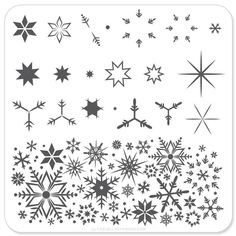 Stamping Plates – Page 4 – Clear Jelly Stamper Snowflake Drawing Easy, Simple Snowflake, Snowflake Nails, Snowflakes, December Bullet Journal, Bullet Journal Ideas Pages, Small Doodle, Snow Flake Tattoo, Bullet Art