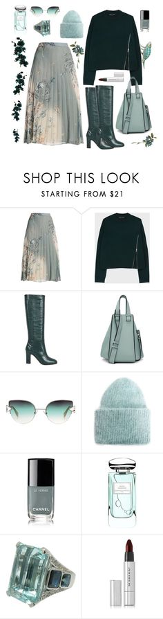 """""""Soft green"""" by waltos ❤ liked on Polyvore featuring Aquazzura, Loewe, Fendi, MANGO, Chanel, By Terry and Burberry"""