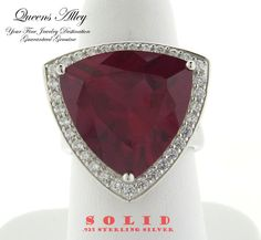 Genuine 20.27ct CR Ruby 1.28ctw CZ .925 Solid Sterling Silver Cocktail Ring. Starting at $1