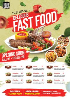 Menu Card Design, Food Menu Design, Food Poster Design, Free Flyer Design, Flyer Design Inspiration, Restaurant Promotions, Restaurant Flyer, New Year Menu, Food Promotion