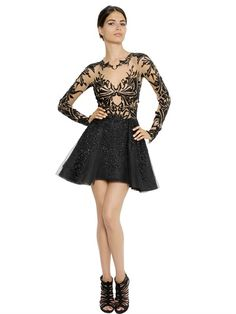 ZUHAIR MURAD - EMBELLISHED SILK VOILE & ORGANZA DRESS - LUISAVIAROMA - LUXURY SHOPPING WORLDWIDE SHIPPING - FLORENCE