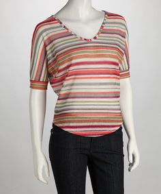 "Coral Stripe Top - SELLING OUT on Zulily.com.  Support my line by purchasing, or ""like"" product."